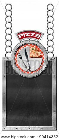 Pizza Menu - Empty Blackboard With Chain