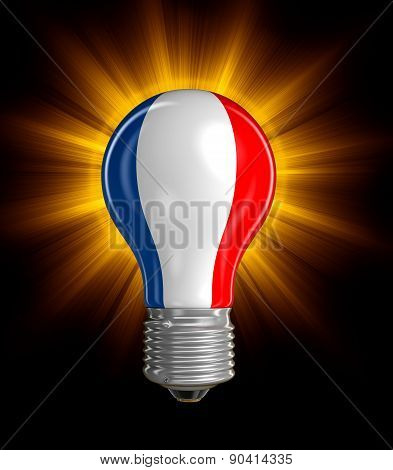 Light bulb with French flag (clipping path included)