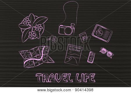 Travel Objects On A Desk, Planning A Trip Or Holiday