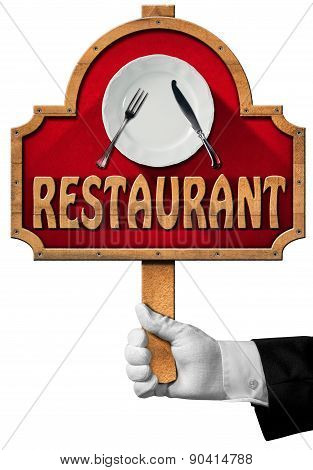 Restaurant - Sign With Hand Of Waiter