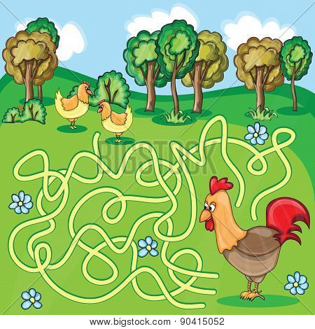 Funny Vector Maze Game - Cartoon Chicken