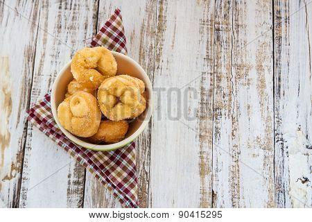 Donut In Ceremic Bowl