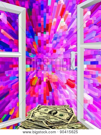 Window To Colored Abstraction And Dollars