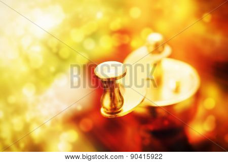 Metal Coffee-mill Handle On Abstract Background, Monochromatic