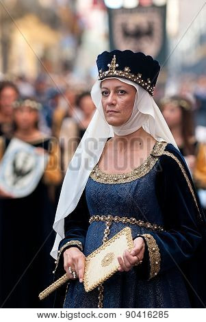 Lady Of Middle Ages, In The Historic Parade.