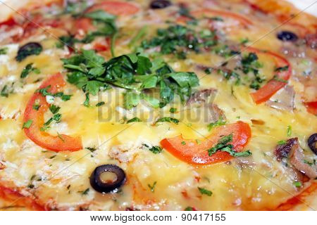Pizza Tasty With Olives And Tomatos