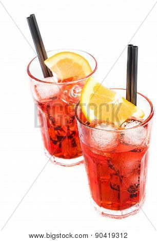 Top Of View Of Two Glasses Of Spritz Aperitif Aperol Cocktail With Orange Slices And Ice Cubes Isola