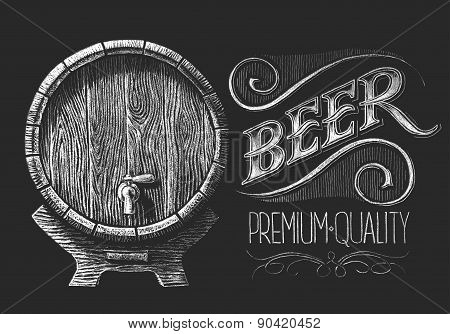 Barrel of beer on chalkboard