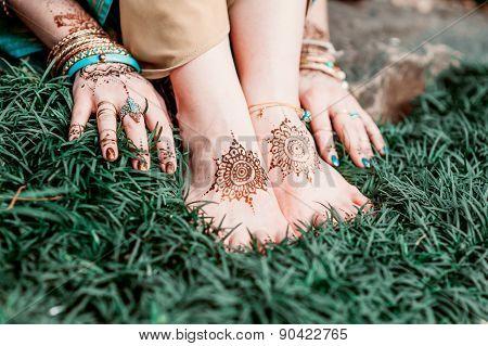 Mehendi Heena On Feet.
