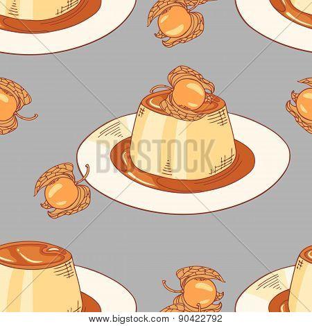 Creme Caramel Dessert Seamless Pattern In Vector
