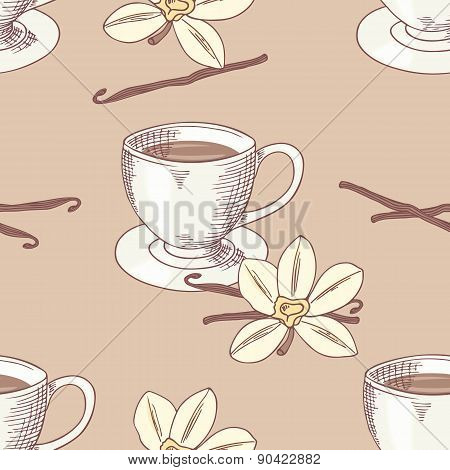 Sketched Coffee Cup With Vanilla Flower Seamless Pattern