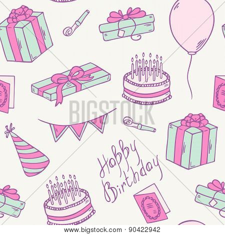 Doodle Birthday Party Seamless Pattern