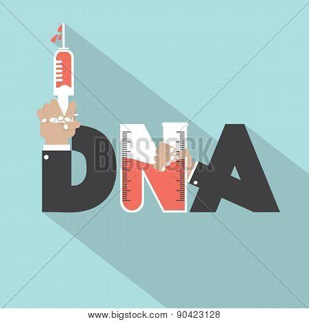 Dna With Syringe Typography Design.