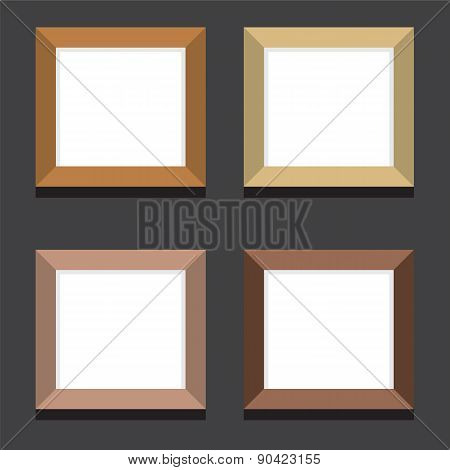 Set Of Empty Square Picture Frames On Black Background.