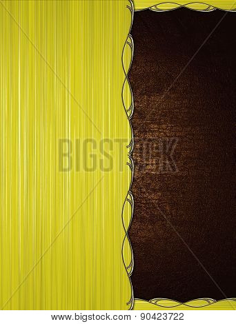 Yellow Striped Background With A Dark Brown Texture