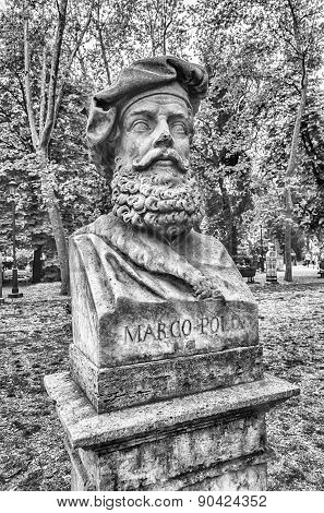 Bust Statue Of Marco Polo. Sculpture In Villa Borghese Park, Rome