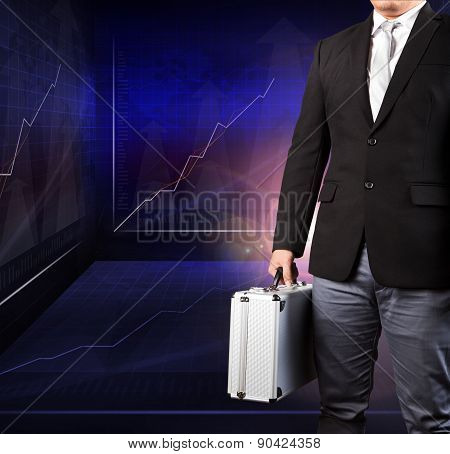 Business Man Holding Metal Strong Breifcase Standing Against Indicator Graphic In Meeting War Room U