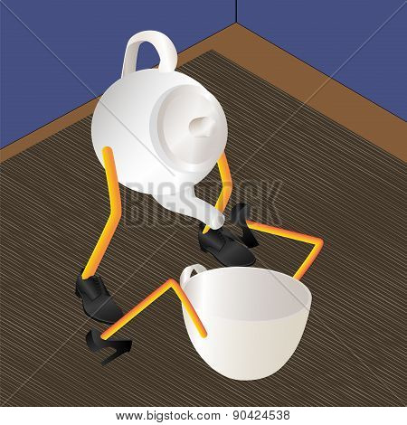 Teapot And Cup. Art-vector.