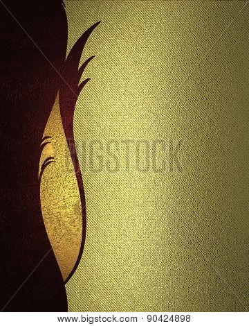 Gold Background With Gold Scuffed With A Red Pattern. Design Template