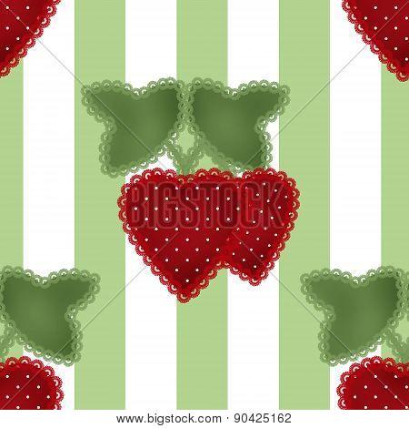 Patchwork strawberry seamless pattern on striped background