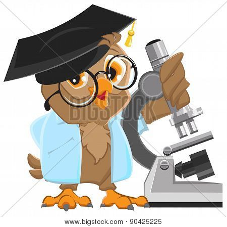 Owl professor in mortarboard holding the microscope