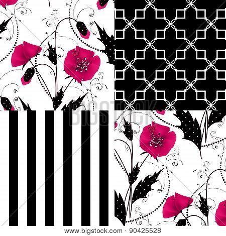 Patchwork seamless poppy pattern ornament striped background