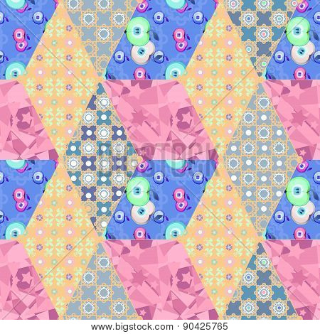 Patchwork seamless pattern with geometric elements retro colors background
