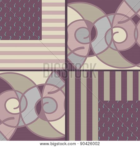 Patchwork seamless pattern with geometric elements retro purple beige colors background