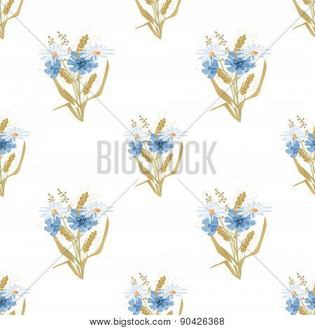Meadow flowers cornflowers and rye seamless pattern background