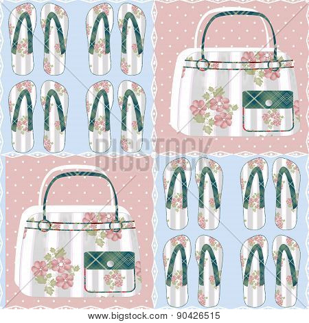 Seamless pattern with bags and flip-flops background