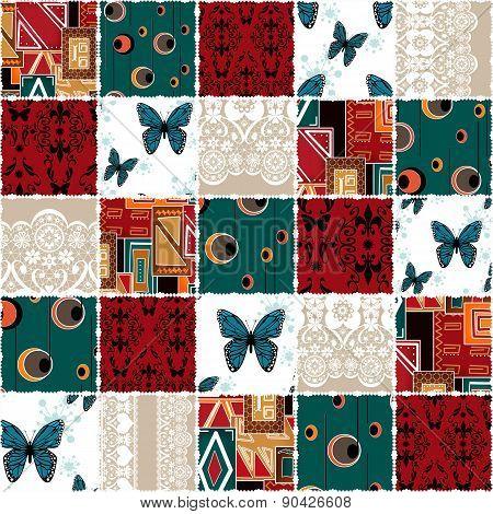 Patchwork seamless retro pattern background