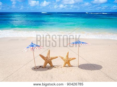 Patriotic Usa Background With Starfishes
