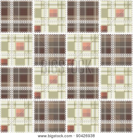 Abstract seamless lace checkered plaid textile design pattern background