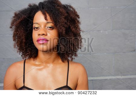 Woman with big wavy hair