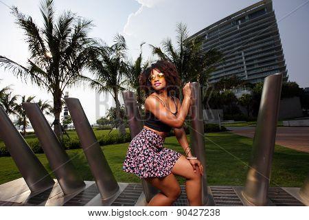 Woman posing in a Miami setting