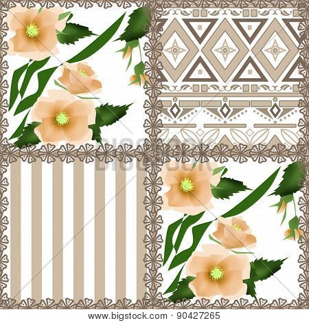 Patchwork retro checkered floral texture pattern background