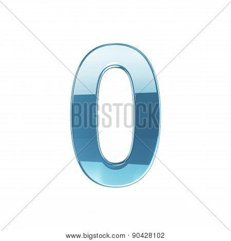 Glass Glossy Transparent Alphabet Digit Zero Symbol 0 Isolated On White Background