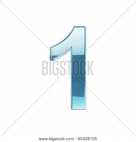 Glass Glossy Transparent Alphabet Digit Zero Symbol 1 Isolated On White Background