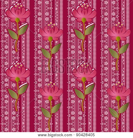 Floral lacy seamless pattern with flowers background