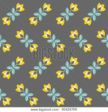 Retro Floral Pattern, Geometric Seamless Flowers