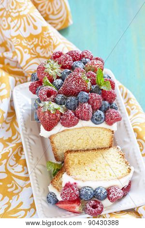 Berry cake with strawberry, raspberry and blueberry