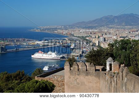 Malaga Port and Castle Battlements.