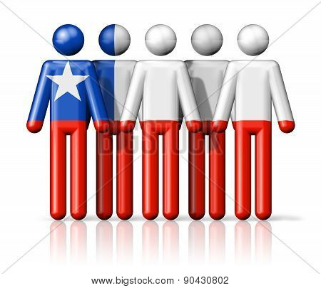 Flag Of Chile On Stick Figure