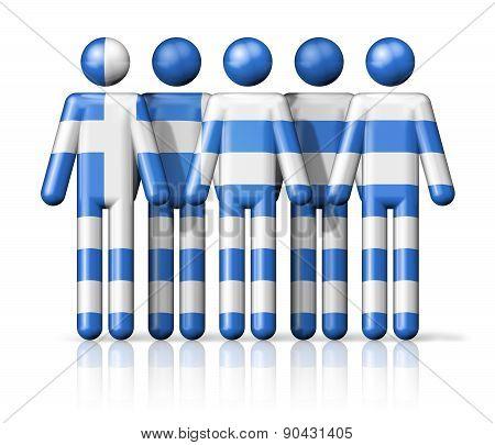 Flag Of Greece On Stick Figure