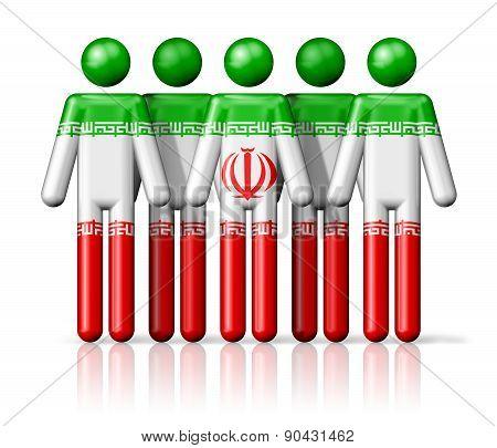 Flag Of Iran On Stick Figure