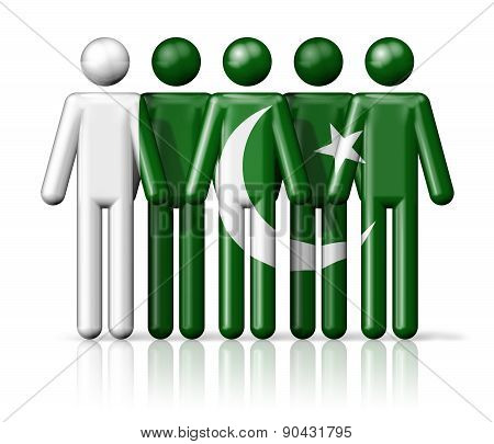 Flag Of Pakistan On Stick Figure