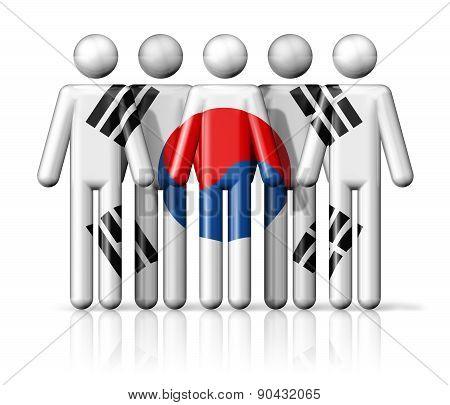 Flag Of South Korea On Stick Figure