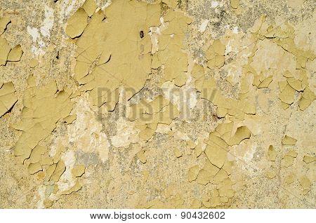 Yellow Peeling Paint On Wall Closeup