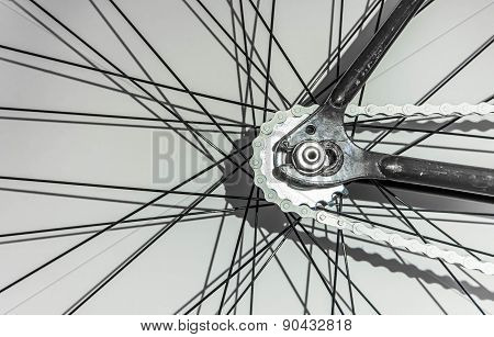 Part of fixed gear bicycle, wheel part and chain