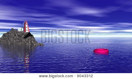 Lighthouse And Buoy By Night